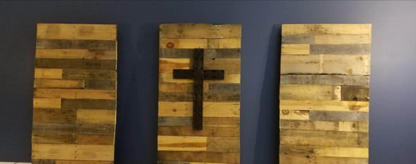 Pallet Wood Panels With Cross Pallet Wall Decor & Pallet Painting