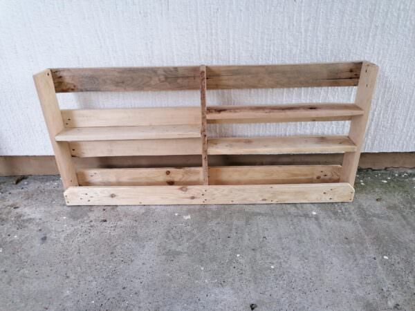 White Wall Shelf With Hooks Made Of Ordinary Wood Pallets Pallet Shelves & Pallet Coat Hangers